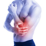 Man has elbow pain and contusion Stock Images