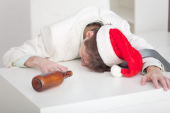 Man has finished Christmas celebrating at on work Stock Images