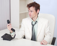 Man has finished conversation with chief at office Royalty Free Stock Photos