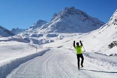 Cross-country Skiing in Silvrettagebirge, Tirol, Austria Stock Photo