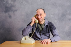 Man has a good,  phone call Stock Photos