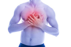 Man has heart pain in chest Stock Photos