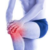 Man has knee pain and contussion Royalty Free Stock Image