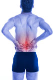 Man has loins pain on his back Royalty Free Stock Photography