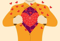 A man opens his chest, showing a loving heart overgrown with cobwebs. Vector illustration. stock illustration