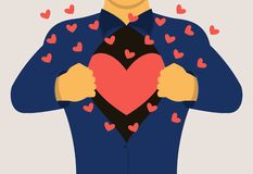 A man opens his chest showing a loving heart. Vector illustration. stock illustration