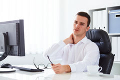 Man has pain of the cervical Stock Photography