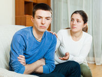 Man has problem, wife comforting him Stock Images