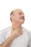 Man has sore throat infection and colds. Respiratory disease in older age stock photos