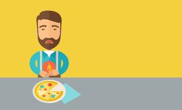 Man has a stomach burn or abdominal pain after he. A sick man has a stomach burn or Abdominal pain after he ate a slice of pizza. A Contemporary style with Vector Illustration