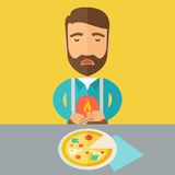 Man has a stomach burn or abdominal pain after he. A sick man has a stomach burn or Abdominal pain after he ate a slice of pizza. A Contemporary style with royalty free illustration
