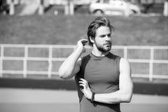 Man has stylish hair in sportswear, sport fashion Stock Photos