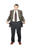Man has turned out empty trouser pockets Royalty Free Stock Photos