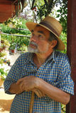 Man in hat. Old man with straw hat Royalty Free Stock Photos