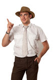 Man in a hat. Man in straw hat has an idea Stock Photos