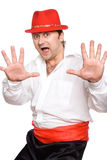 The man in a hat. The man in a red hat. Dances  cha cha cha Royalty Free Stock Image