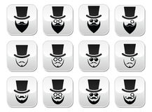 Man with hat with beard and glasses buttons set Royalty Free Stock Photo
