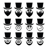 Man with hat with beard and glasses icons set Stock Image