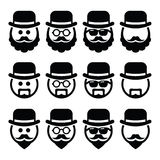 Man in hat with beard and glasses icons set Stock Image