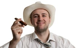 Man in a hat with a cigar Royalty Free Stock Photo