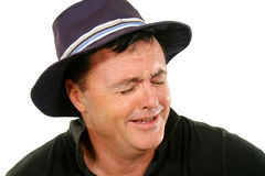 Man In Hat Crying Stock Images