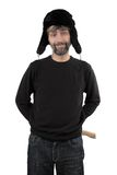 Man in hat ear flaps holding axe. Adult man in hat ear flaps holding axe isolated white Royalty Free Stock Photography
