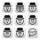 Man in hat faces  buttons set Royalty Free Stock Photos