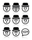 Man in hat faces  icons set Stock Photos