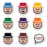 Man in hat faces  icons set Royalty Free Stock Photo