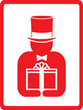Man in hat with gift Royalty Free Stock Images