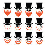 Man in hat with ginger beard and glasses icons set. Senior, gentleman with ginger beard and glasses icons isolated on white Royalty Free Stock Image
