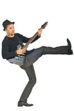 Man with hat playing guitar Stock Photos