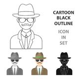 Man in hat suit raincoat and glasses. The detective undercover.Detective single icon in cartoon style vector symbol Royalty Free Stock Image
