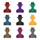 Man in hat suit raincoat and glasses. The detective undercover.Detective single icon in blake style vector symbol stock. Web illustration Stock Images