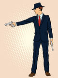 Man in a hat with two pistols Royalty Free Stock Photos