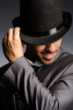 The man with the hat in vintage concept Stock Photos