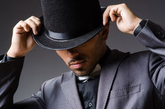 Man with hat in vintage concept. The man with hat in vintage concept Royalty Free Stock Photography