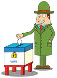 Man with hat voting. Illustration of a man with hat voting Royalty Free Stock Image
