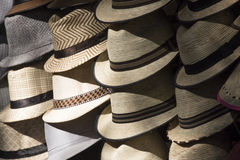 Man Hats. In the flea market at Puerto Vallarta Royalty Free Stock Images