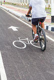 A man have an exercise by riding bicycle Royalty Free Stock Image