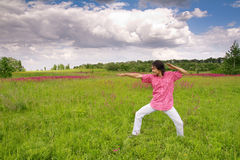 Man have fun in the meadow Stock Photos