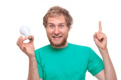 Man have an idea and bulb Royalty Free Stock Photos