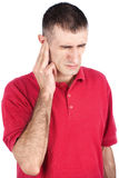 Man have pain in ear. Man have a strong pain in ear, isolate on white background royalty free stock photography