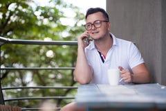Man have phone conversation Royalty Free Stock Photo