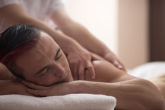 Man have relaxing massage Stock Images
