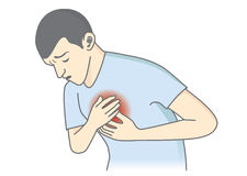 Man have symptoms of heart attack. Royalty Free Stock Photo