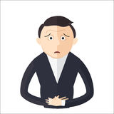 Man having an abdominal pain vector illustration. Character in Flat style Royalty Free Stock Photo