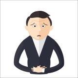 Man having an abdominal pain vector illustration. Royalty Free Stock Photo