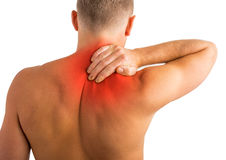 Man having back and shoulder pain Royalty Free Stock Images