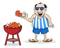 Man having barbecue in the summer. Vector illustration of a man having barbecue in the summer royalty free illustration